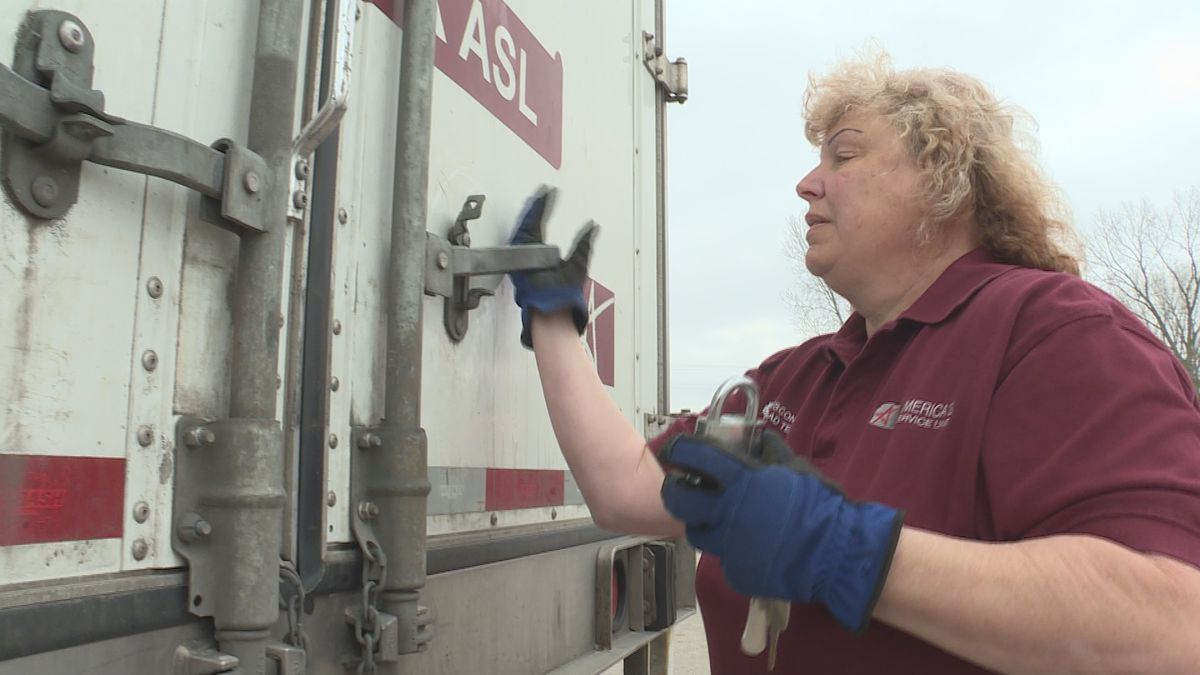 Carmen Anderson is a truck driver delivering canned goods to a grocery store in Minnesota.