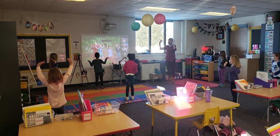 Mrs. Blake's kindergarten class takes a dance break in between the morning meeting and their...