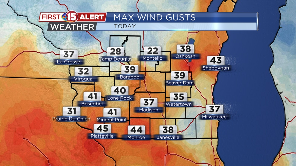 Maximum wind gusts topped 40-45 mph throughout much of southern Wisconsin on Saturday.
