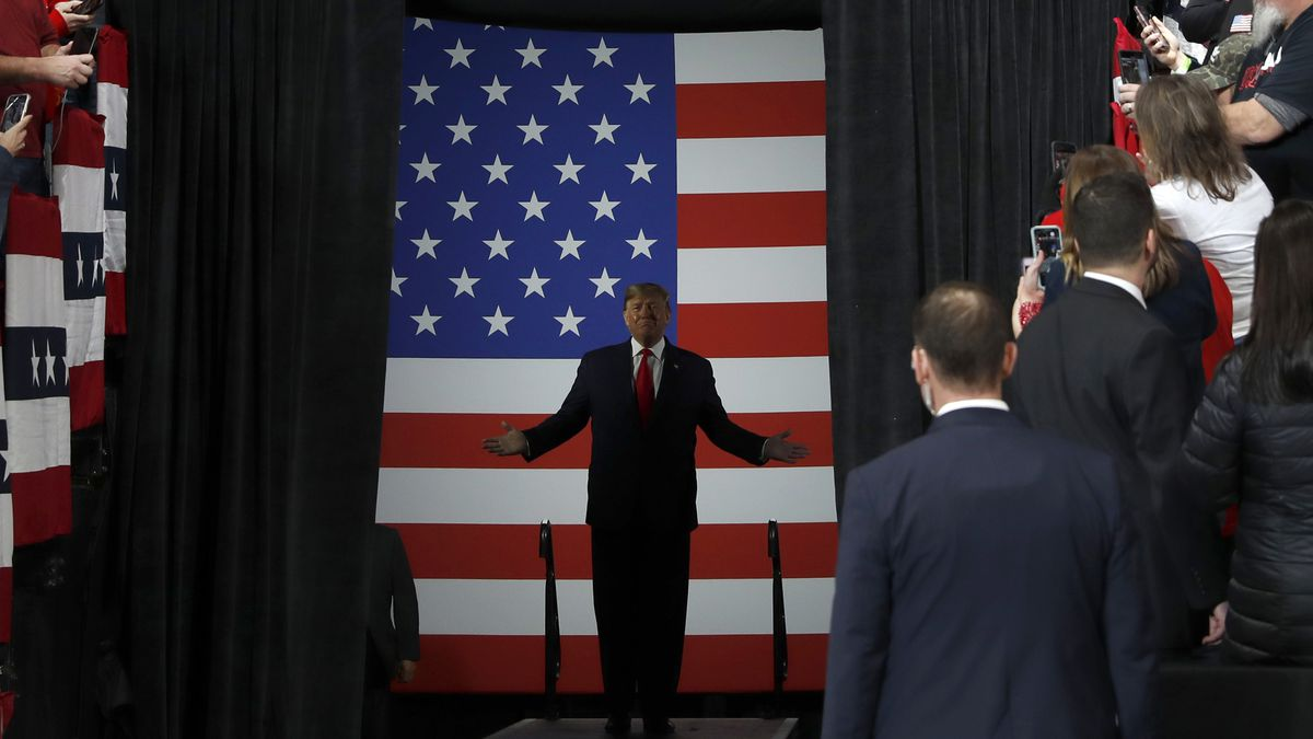 President Donald Trump arrives for a campaign rally, Thursday, Jan. 9, 2020, in Toledo, Ohio. (AP Photo/ Jacquelyn Martin)