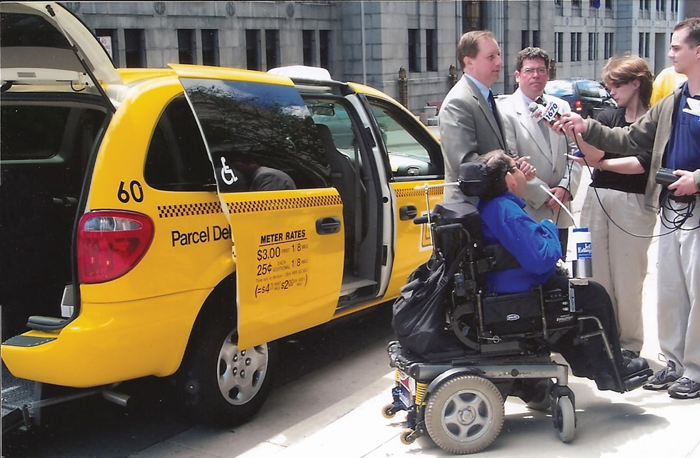 Jeffrey Erlanger at the unveiling of Madison's first accessible taxi.