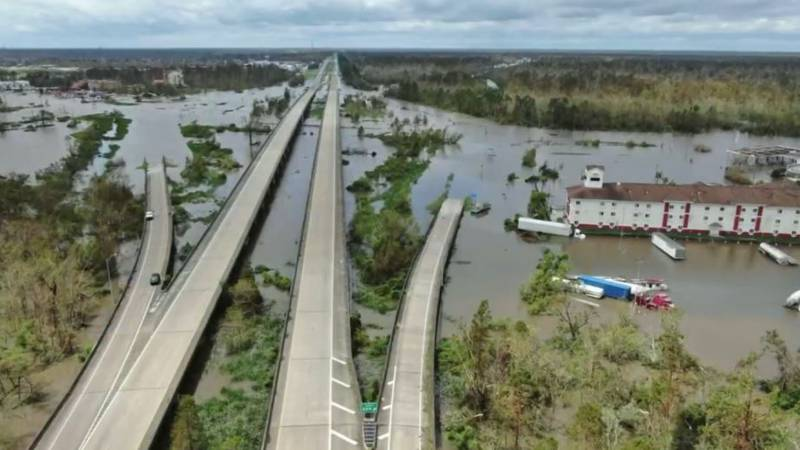 The Louisiana State Police released images Tuesday of Hurricane Ida damage along I-55 near the...