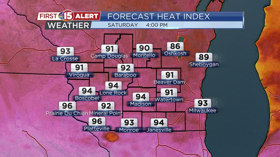 Forecast Heat Index Saturday 4PM
