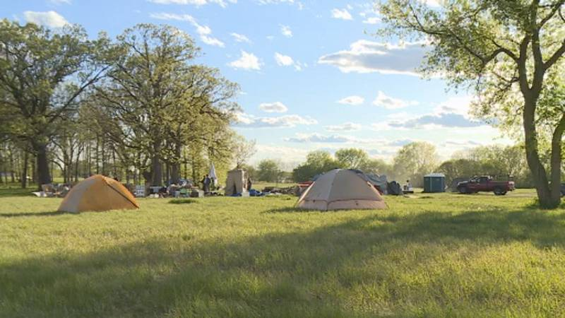 Homeless campers at Reindahl Park are looking for new options, after the city asked them to...