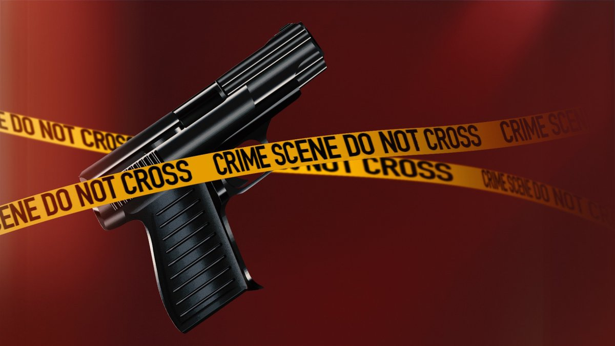 A gun and police tape.