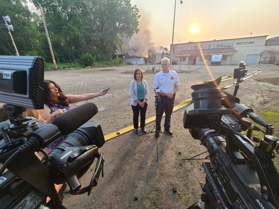 Fort Atkinson Fire Chief Daryl Rausch holds a news conference on August 11, 2021, a day after...