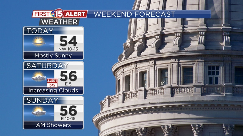 Below average temperatures are expected through the weekend. Highs will be in the 50s each day.