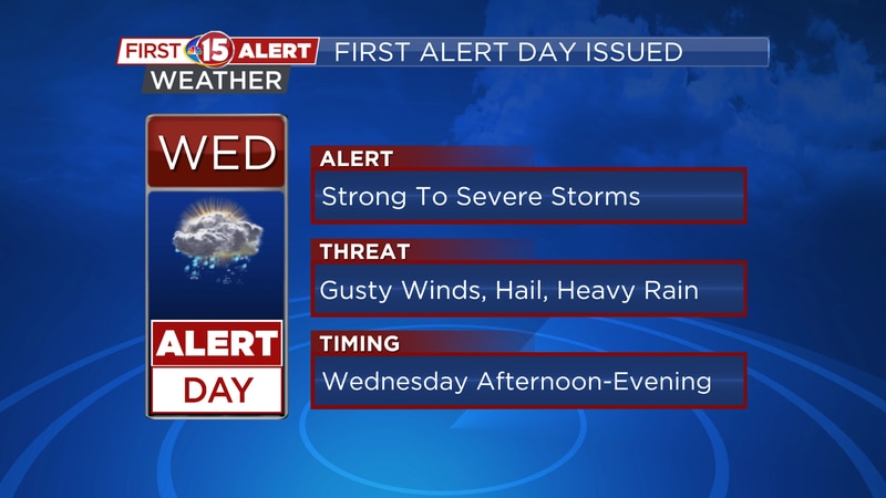Strong to severe storms are possible.
