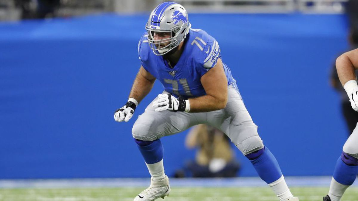 Detroit Lions offensive tackle Rick Wagner plays against the New York Giants during an NFL football game in Detroit, Sunday, Oct. 27, 2019. (AP Photo/Paul Sancya)