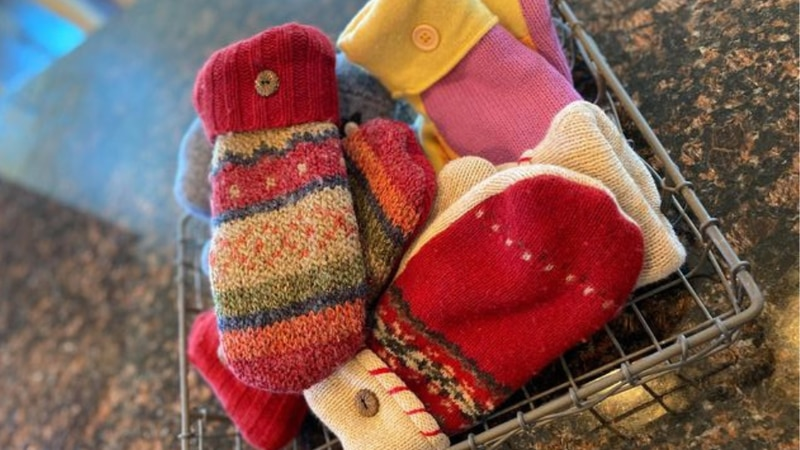 A Boscobel woman is recycling sweaters from lost loved ones and turning them into warm mittens.