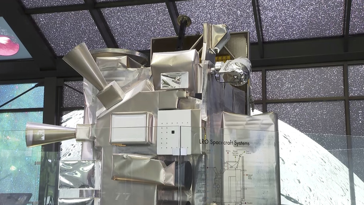 A full-scale replica of the Lunar Reconnaissance Orbiter is on display at NASA's Goddard Space...