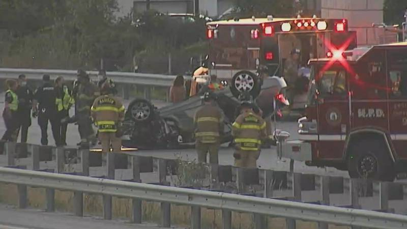 A rollover wreck backed up traffic on the Beltline.