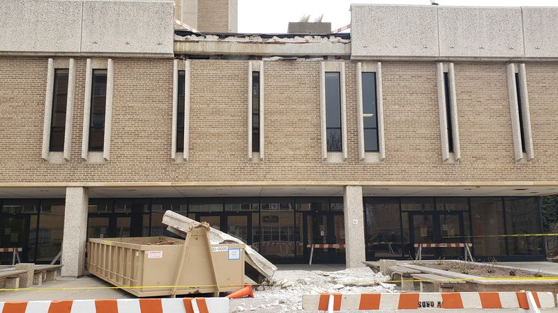 UW-Madison officials are working to determine what caused the concrete slab to fall from the...