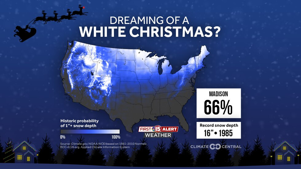 We have a 66% chance of seeing a White Christmas historically in Madison (and most of...