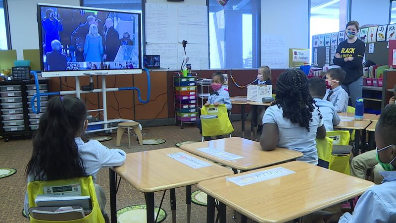 One City Elementary School students watch historic inauguration