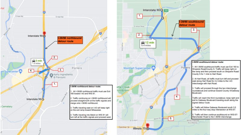 The Wisconsin Department of Transportation provided a detour for the January closures near...