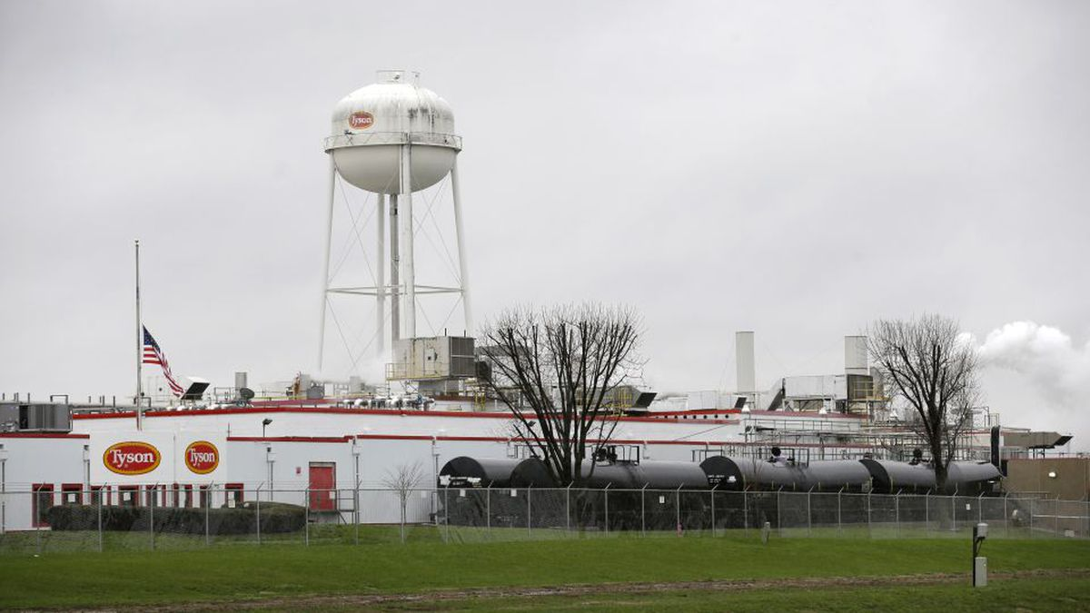 This Wednesday, April 17, 2013 photo shows the Tyson Foods pork processing plant in Columbus Junction, Iowa. Tyson and other meatpacking companies have increasingly recruited non-Latino workers in recent years, including Burmese, Sudanese and others, said Mark Grey, director of the Iowa Center for Immigrant Leadership and Integration at University of Northern Iowa. (AP Photo/Charlie Neibergall)