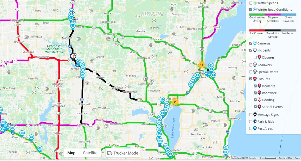 The WisDOT travel map shows travel not advised on Feb. 4, 2021