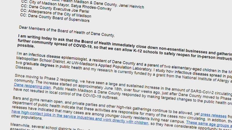 Letter to the Board of Health of Dane County