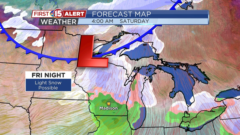 Forecast Map - Light snow possible Friday night