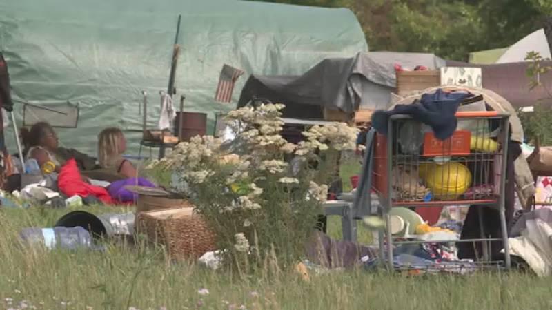 Homeless encampment at Reindahl Park
