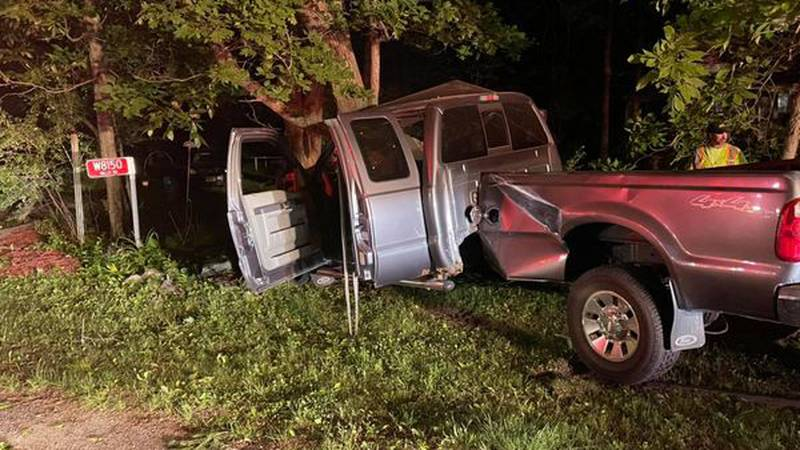 A Ford F-250 crashed into a tree.
