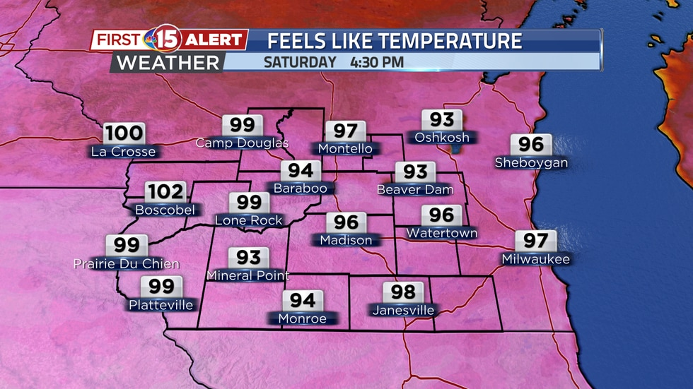 Warm temperatures and high humidity levels will generate heat index temperatures in the 90s and...