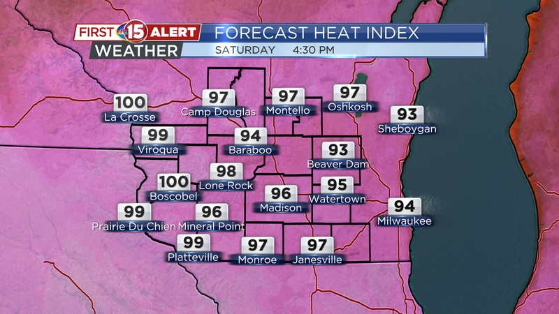 Feels-like temperatures may top 100°F in some spots on Saturday!