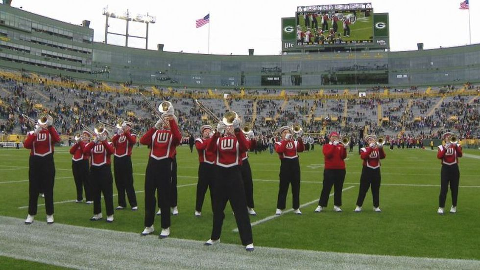 The UW Marching Band at Lambeau Field (FOX11)