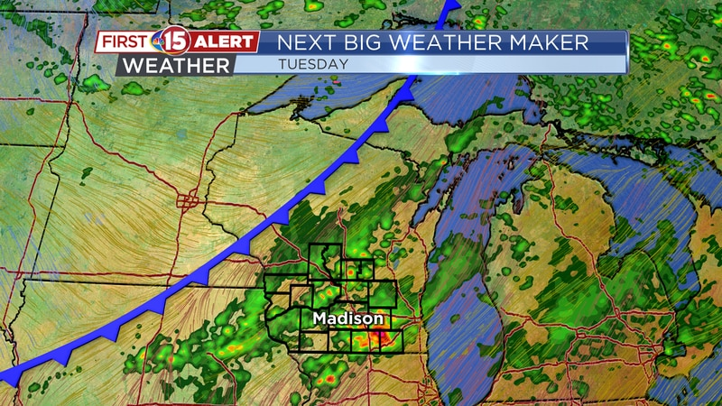 Next Big Weather Maker - Rain and storms develop ahead of an approaching cold front Tuesday