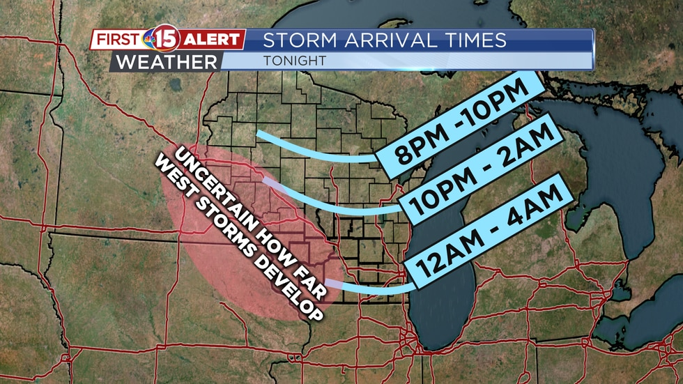 Storms will arrive into the NBC15 viewing area as early as 10 p.m. The line may not reach...