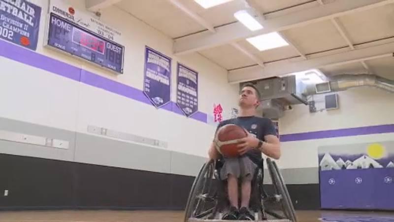 Matt Lesperance, a member of Team USA for men's wheelchair basketball, practices at...