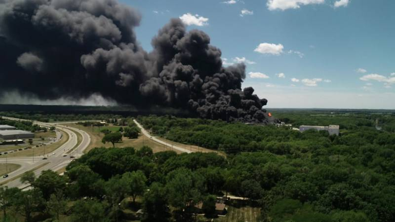 A massive fire continues to burn at a chemical plant just across the Illinois border in the...