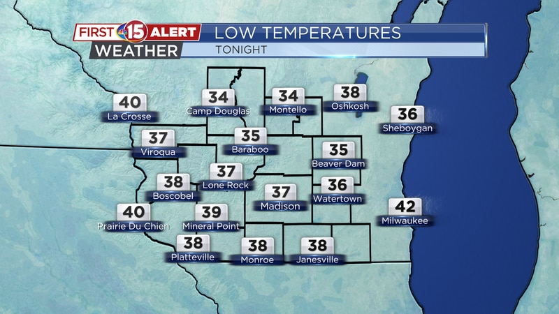 Low Temperatures - Tuesday Night