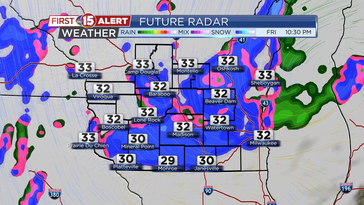 """Another band of snow is expected late tonight into early Saturday morning. Another dusting - 1""""..."""