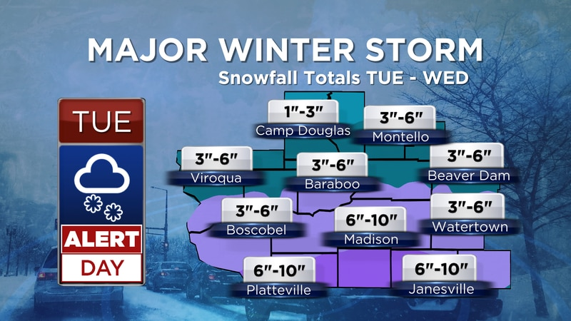 Snowfall Totals - TUE-WED