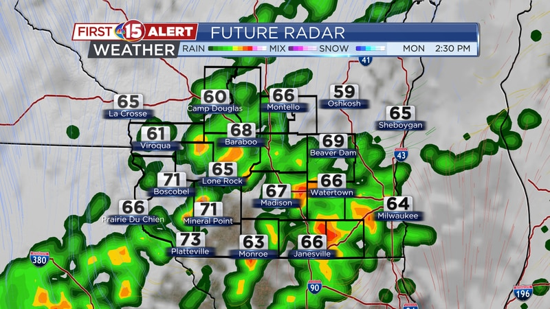 Scattered showers & storms move by tonight into Monday.
