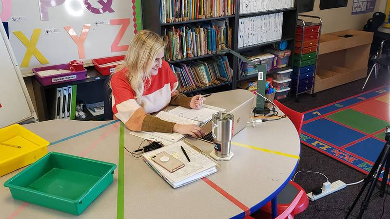 Mrs. Amy Blake says despite five months of virtual learning, her students are progressing well...