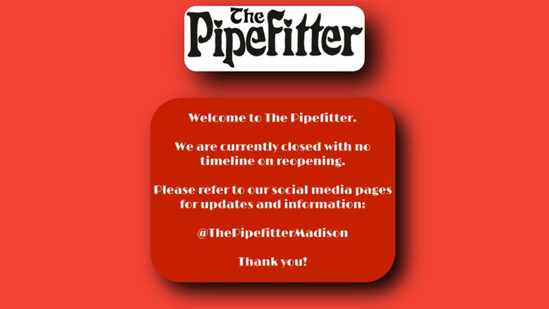 The Pipefitter website on April 14, 2021, following the announcement the store would close...