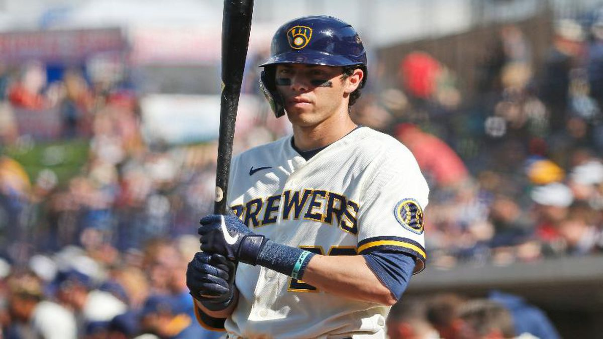 Milwaukee Brewers' Christian Yelich in the batting circle during a spring training baseball game  March 8 in Phoenix, Ariz. (AP Photo/Sue Ogrocki)