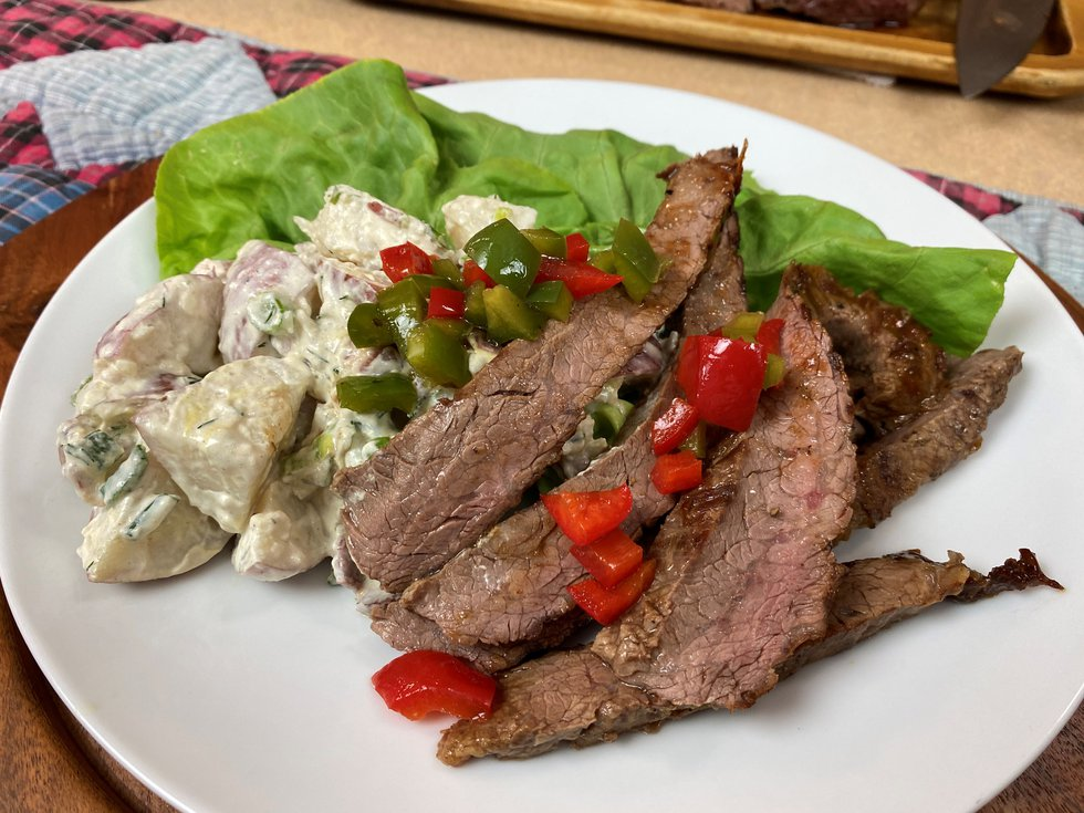 Angie Horkan from the Wisconsin Beef Council presents steak recipes for the grill that come...
