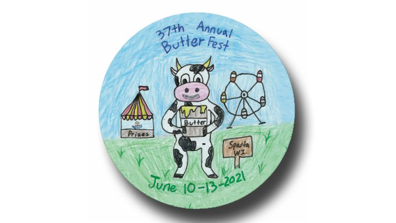 Butter Fest organizers reveal their 2021 button design, created by Morgan Revels.