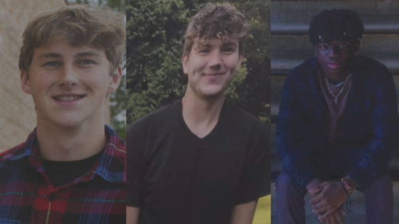 Evan (left), Jack (middle), and Simon (right) died in a car crash the weekend of October 2, 2021.
