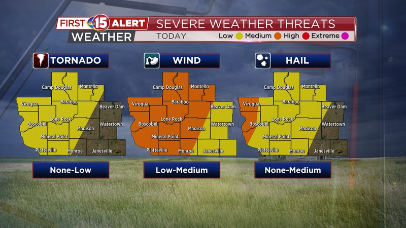 All types of severe weather are possible Monday evening.