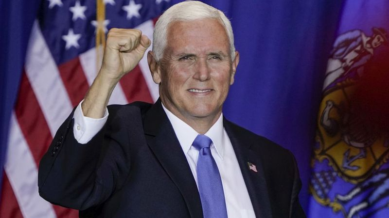 Vice President Mike Pence speaks at a campiagn stop Monday, Sept. 14, 2020, in Janesville, Wis....