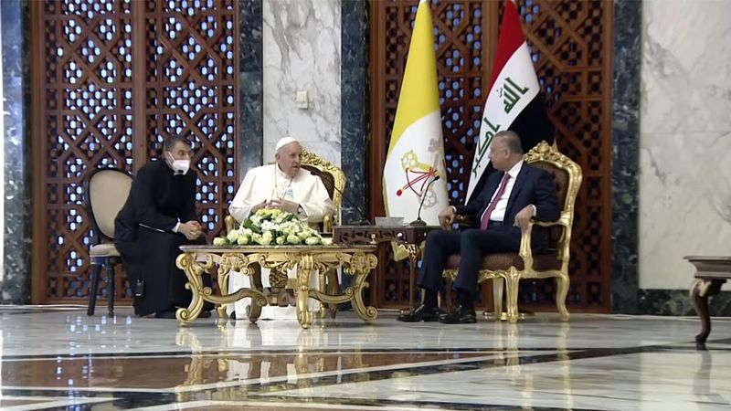 Pope Francis and Iraqi Prime Minister Mustafa Al-Kadhimi meet at Baghdad International Airport...