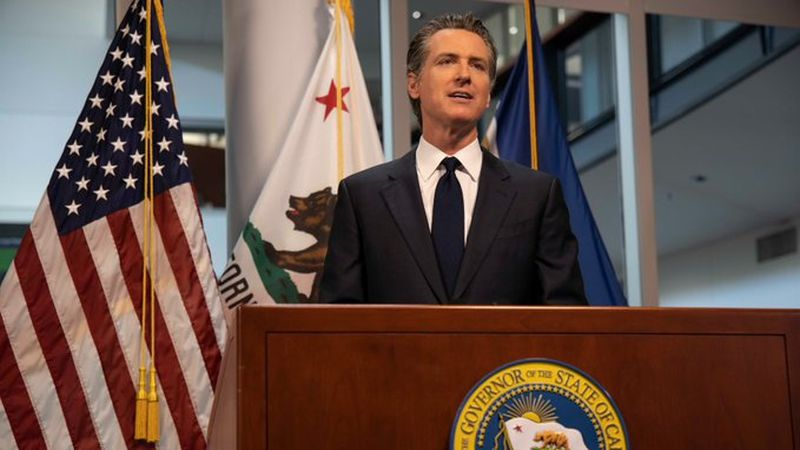 California Gov. Gavin Newsom announced the new plans amid an unprecedented surge of new...