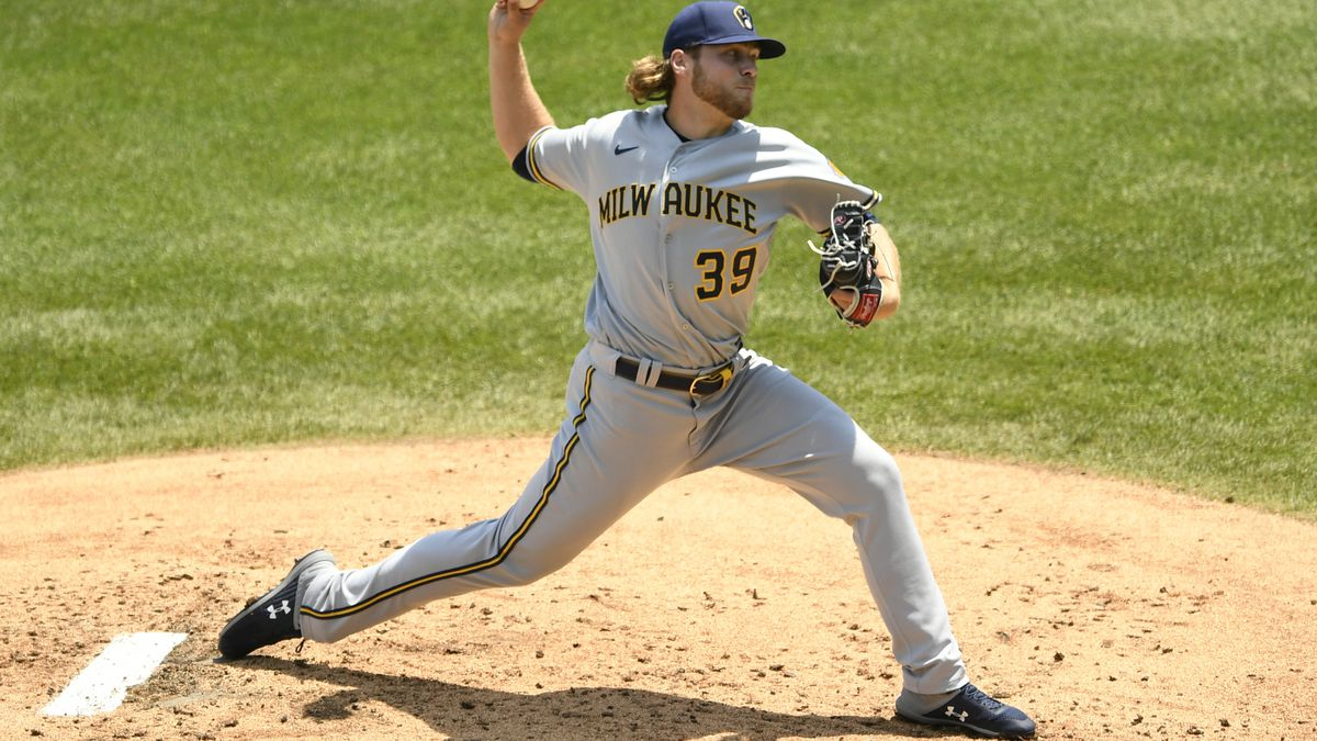 Milwaukee Brewers starter Corbin Burnes delivers a pitch during the first inning of a baseball game against the Chicago Cubs Saturday, July 25, 2020, in Chicago. (AP Photo/Paul Beaty)
