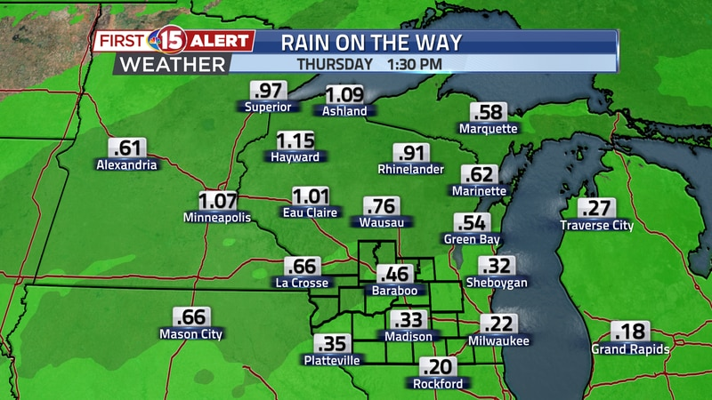 These are forecast rainfall totals for tomorrow through Thursday morning. 0.25 to 0.50 inches...