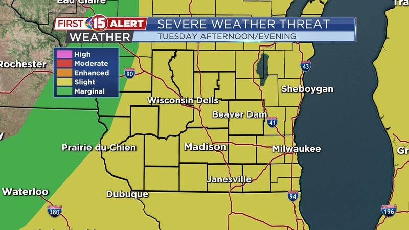 There is a Slight Threat of severe thunderstorms for much of southern Wisconsin Tuesday. Strong...